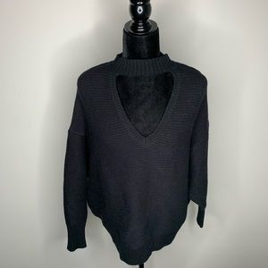 Zara Knit Black Open V-Neck Sweater Medium